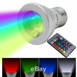 3w 5w 10w E27 / E14 Rgb Led Ampoule Couleur Changement D'économie D'énergie + Télécommande