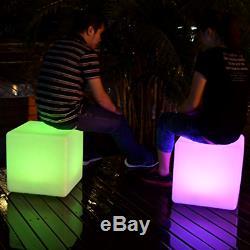 40cm Extérieur Cube Led Mood Light Up Étanche Tabouret Siège Table Meubles