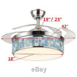 42 ' ' 3 Modèle Rétractable Lustre Plafonnier À Led Fan Light 3 Couleur / Changement De Vitesse