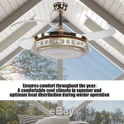 42 Led Luxe Plafond Ventilateur Lumière Lustre 4 Lames 3-color Changing