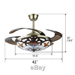 42 Plafond Rétractable Classique Fan Lumière 3 Led Changer La Couleur Lustre À Distance