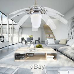 42 Rétractable Moderne Ventilateur Au Plafond Avec La Lumière Dimmable Led Lustre Ventilateur À Distance
