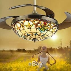 42 Ventilateur Au Plafond 4 Lames Led Ventilateur Au Plafond Lumière Télécommande 3 Changement De Couleur