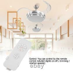 42'' Ventilateur De Plafond Led 4 Retractable Lame Télécommande 3 Couleurs Lumières Changeantes