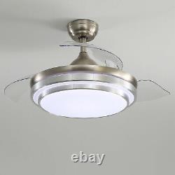42 Ventilateur De Plafond Led Avec 3 Lumière De Couleur 4 Lames Invisibles Télécommande 3 Vitesse