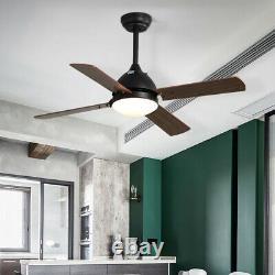 42 Ventilateur De Plafond Light Remote Control Retro Wood Blades/3 Couleur Led/3 Vitesse/timer