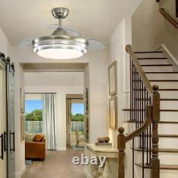42 Ventilateur De Plafond Light Retractable Lame Réglable Vent Vitesse Télécommande Led
