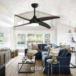 48 Lames De Bois De Noyer Ventilateur De Plafond Avec Télécommande Légère/3 Couleur Led/3 Vitesse