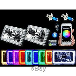4x6 Bluetooth Changement De Couleur Rgb Led Smd Halo Angel Eye Phare Ampoule Paire
