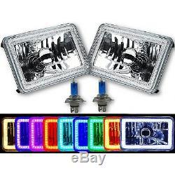 4x6 Bluetooth Changement De Couleur Rgb Smd Led Halo Angel Eye Paire Ampoule
