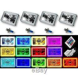 4x6 Changement De Couleur Rgb Led Smd Halo Angel Eye Phare H4 Halogène Ampoule Set