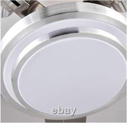 52 Ventilateurs De Plafond Télécommandés Lustre Avec Led Light 5 Lames En Acier Inoxydable
