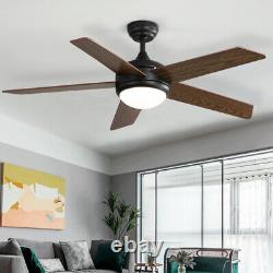 52 Vintage 5-wood Blas Ventilateur De Plafond Avec 3 Couleurs Light Remote Control/3 Speed
