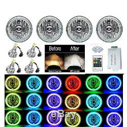 5-3 / 4 Rf Rgb Smd Changement De Couleur Halo Angel Eye Maj Led Phares Set Phares