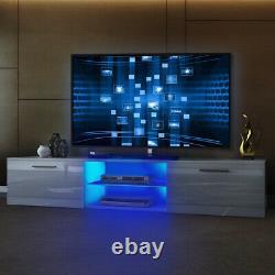 63 White Modern Tv Unit Cabinet Tv Stand Matt Corps Et Haute Brillance Porte Led Lumière