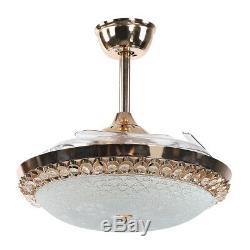 65w Ventilateur Au Plafond Led Light Chandelier 3 Changement De Couleur 4 Lames + Télécommande