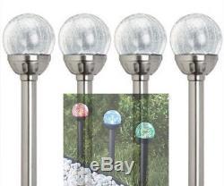 6 X Lampes À Billes De Verre Craquelé Changeant De Couleur De L'énergie Solaire