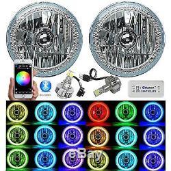 7 Bluetooth Téléphone Rgb Smd Changement De Couleur Halo Angel Eye H4 6k Led Phares Paire