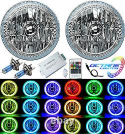 7 Multi-couleur Blanc Rouge Bleu Vert Rgb Smd Led Halo Angel Phares Oculaires Paire