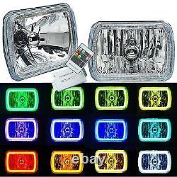 7x6 Changement De Couleur Rgb Smd Led Halo Angel Eye Headlight Halogen Light Bulb Paire