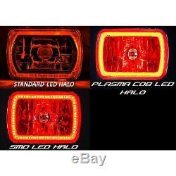 7x6 Rgb Cob Changement De Couleur Blanc Rouge Bleu Vert Halo Angel Eye 40w Led Phares
