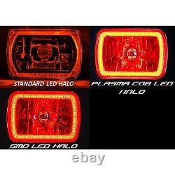 7x6 Rgb Cob Changement De Couleur Led Halo Phares Angel Eye Convient Jeep Wrangler Yj Xj