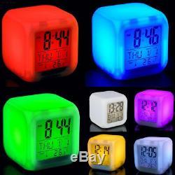 8712 Nouveau 7 Changement De Couleur Led Numérique Réveil Bureau Date Heure Glow Nuit