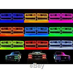 88-98 Chevy Gmc Truck Multi-changement De Couleur Led Rvb Décalage Phare Halo Bague