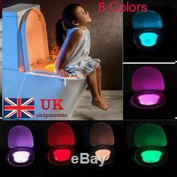 8 Couleur Toilettes Veilleuse Led De Détection Automatique De Détection Glow Bowl Seat Cadeau Royaume-uni