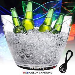 8 Lrt Conteneur De Glace Vin Seau Rechargeable Led Changeant De Couleur Bar Cooler Party