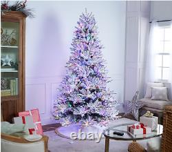 8ft Pères Noël Meilleur Snowflock Majestic Arbre De Noël De Changement De Couleur Led Lumières R / C