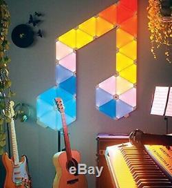9pc Nanoleaf Panneaux Lumineux App Contrôlé Plus Intelligent Kit De Montage Mural Lumières Rhythm Édition