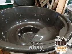 Abordable Fibre De Verre En Bois Hot Tub Hydro Bubbles + Led, Bois Tiré