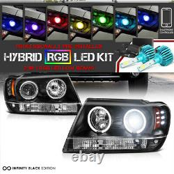 Ampoule Led De Changement De Couleur Pour 99-04 Jeep Grand Cherokee Wj Wg Led Halo Headlight