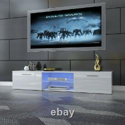 Armoire Moderne D'unité De Tv De 160cm Stand Portes Brillantes Hautes Avec Tiroirs De Lumières Led De Rgb