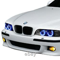 Black 3d Angel Eyes Phare +led Signal+rgb Changement De Couleur Pour 1996-2003 Bmw E39