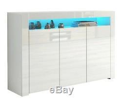 Blanc Brillant Top Portes Enfilade Cabinet Moderne Armoire Buffet Lily Gloss Unité