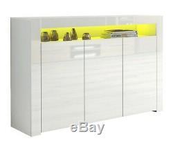 Blanc Laqué Blanc Matt Enfilade Corps Moderne Cabinet Armoire Rgb Led
