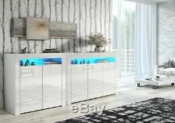 Blanc Laqué Portes Haut Blanc Mat Cabinet Armoire Enfilade Led Bleu