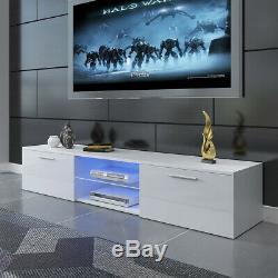 Cabinet Armoire Tv Enfilade Unité Matt Body & Haute Portes Gloss + Led 160cm