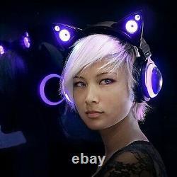 Casque D'oreille Sans Fil Brookstone Cat Avec Lumières Led À Changement De Couleur Nib