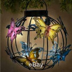 Changement De Couleur Lanterne Papillon Solaire Hanging Garden Patio Lumière 23 X 24 CM
