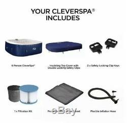 Cleverspa Belize 6 Personne Avec Led Lightshow Bain À Remous, Nouveau. Lazy Spa Lay Z Spa