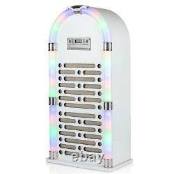 Color Changing Led Light Bluetooth CD Jukebox Avec Fm Radio Gloss White