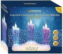 Couleur De La Batterie De Noël Changeant Le Feu De Fenêtre Led Scintillement Pont De Bougie D'eau