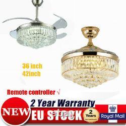 Crystal Invisible Fan Ceiling Light Modern Remote Led 3-color Change Chandelier