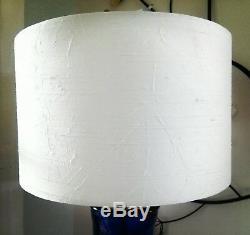 Déclaration Bleu Ombre Soie Blanche Verre Grande Idée Cadeau Lampe De Table Sur Mesure Unique,