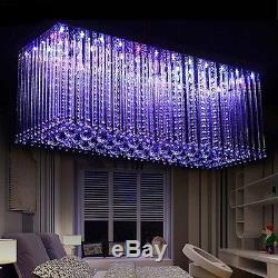 Éclairage Pendant De Lustre Changeant De Couleur En Cristal En Cristal De Salle À Manger De Led Avec À Distance
