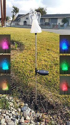 Énergie Solaire Ange Avec Jupe Givrée Piquet De Jardin Changement De Couleur Led Lumière