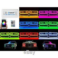 Ensemble D'anneau Bluetooth Pour Phare À Del Rvb À Changement De Couleurs Multicolore 1988-98 Chevy Gmc